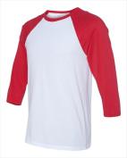 Bella-Canvas C3200 Unisex 0.75 Sleeve Baseball Tee - White & Red Extra Large