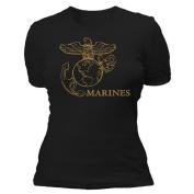 Fox Outdoor 64-0944 S Womens Marines Imprint Cotton Tee - Black Small