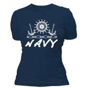 Fox Outdoor 64-0934 M Womens Navy Imprint Cotton Tee - Navy Medium