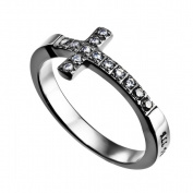 Spirit And Truth Jewellery 112912 Ring-Sideways Cross-Christ My Strength - Size 8