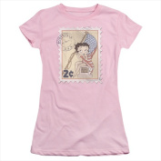 Boop-Vintage Stamp - Short Sleeve Junior Sheer Tee Pink - Small