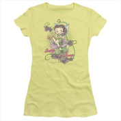 Boop-Flower Vine Fairy - Short Sleeve Junior Sheer Tee Banana - Medium