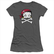 Boop-Pirate - Short Sleeve Junior Sheer Tee Charcoal - Medium