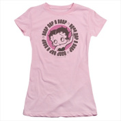Boop-Oop A Doop - Short Sleeve Junior Sheer Tee Pink - Extra Large