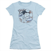 Boop-S.S. Vintage - Short Sleeve Junior Sheer Tee Light Blue - Large