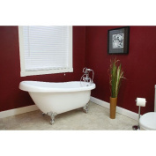 Cambridge Plumbing Inc AST61-7DH-BN Acrylic Slipper Bathtub 150cm x 80cm . with 18cm . Deck Mount Faucet Drillings and Brushed Nickel Feet