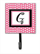 Carolines Treasures CJ1001-GSH4 Letter G Initial Monogram - Pink Black Polka Dots Leash Holder Or Key Hook