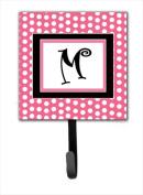 Carolines Treasures CJ1001-MSH4 Letter M Initial Monogram - Pink Black Polka Dots Leash Holder Or Key Hook