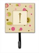 Carolines Treasures CJ1004-ISH4 Letter I Initial Monogram - Tan Dots Leash Holder Or Key Hook