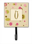Carolines Treasures CJ1004-USH4 Letter U Initial Monogram - Tan Dots Leash Holder Or Key Hook