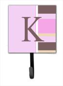 Carolines Treasures CJ1005-KSH4 Letter K Initial Monogram - Pink Stripes Leash Holder Or Key Hook