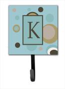 Carolines Treasures CJ1013-KSH4 Letter K Initial Monogram - Blue Dots Leash Holder Or Key Hook