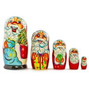 18cm Set of 5 Cheerful Santa Claus Wooden Russian Nesting Dolls