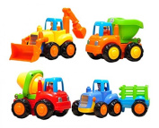 Set of 4 Cartoon Friction Powered Play Vehicles for Toddlers - Dump Truck, Cement Mixer, Bulldozer, Tractor