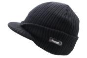 Adult BLACK Thinsulate Beanie Hat Cap Thermal German Winter Warm Ski Peak Visor