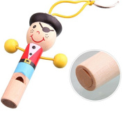 Youpin 1pcs Wooden Pirate Whistle with Keyring Key Chain Education Toy Cartoon People Human Pendant Mini Musical Instrument for Baby Kid Gift Random Colours