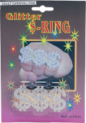 Adult Gangster 1980s Fancy Dress Party Accessory 3 Dollar Signs Glitter Ring
