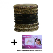 Indian Bangles 24 Bracelets Lovely black gold 65cm with Bindis Jewellery Bollywood