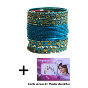 Indian Bangles 24 Bracelets Makive turquoise gold 7 cm with Bindis Jewellery Bollywood