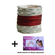 Indian Bangles 24 Bracelets Sunflower darkred silver 65cm with Bindis Jewellery Bollywood