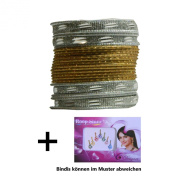 Indian Bangles 24 Bracelets Sunflower gold silver 65cm with Bindis Jewellery Bollywood