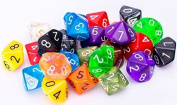 SmartDealsPro 25 Count Assorted Pack of 10 Sided Dice - Multi Coloured Assortment of D10 Polyhedral Dice