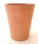 NEW HAND MADE NATURAL REAL LEATHER DICE CUP SHAKER POT - UK SELLER