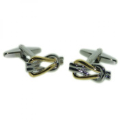 gold and silver reef knot cufflinks, knotted cuff links in gift box reef knot design cufflinks.