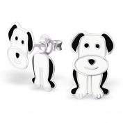 Sterling Silver Dog Earrings - Doubled-up front and back design