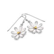 Sterling Silver and Gold Heart Daisy Dangly Earrings