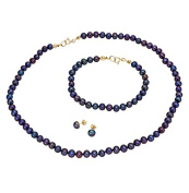Pearlyta Women's 14K Gold Dyed-Black Cultured Freshwater Pearl Jewellery Set
