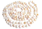 """Multicolour White Pink Lavender Freshwater Natural Cultured Baroque Pearl 120cm 47"""" Long Double Knotted Necklace Present"""