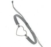 Grey Cord and Silver Heart Bracelet