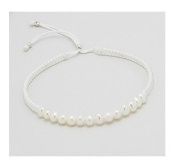 White Cord and Freshwater Pearl Bracelet