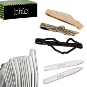 BMC 3pc Mens Mix Design Stainless Steel Tie Bar Clips and 8pr Metal Collar Stays