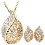 PRESKIN - Magnificent jewellery plated | Beatiful Ladies Necklace and earrings sparkling | with glittering rhinestones