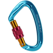 1pc Mountaineering Climbing Screw Lock Carabiner Steel 24KN Blue