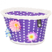 PedalPro Flowery Childrens Bicycle Basket - Purple