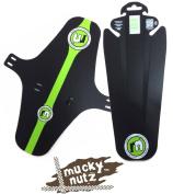Mucky Nutz Face Fender XL & Butt Fender Front & Rear Bike Mudguard Set - Black/Green