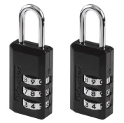 Master Lock 2 x 20mm Zinc Combination Padlocks with Black Vinyl Cover