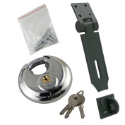 BRAND NEW - HEAVY DUTY SECURITY SET - 1 HASP + 1 DISCUS PADLOCK WITH 2 KEYS