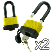 WATERPROOF PADLOCK - LONG SHACKLE - 50MM - PACK OF 2