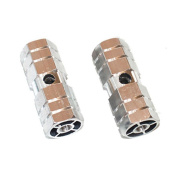 A Pair Aluminium Alloy Bicycle Bike 1cm Axle Sexangle Cylinder Foot Pegs Rest Silver