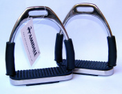 Amidale Flexi Safety Stirrups Horse Riding Bendy Irons Stainless Steel Black Treads