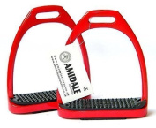 aluminium LIGHT WEIGHT STIRRUPS HORSE RIDING WITH TREADS 12cm RED AMIDALE SPORTS