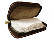 Full Leather Fly Fishing Wallet Lambs Wool Lined