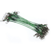 Hot 72pcs Fishing Trace Lures Leader Steel Wire Spinner 15cm 23cm 30cm Green