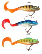 TraceAce Tackle 3 X All 3 Colours Of 15cm pike 40G Curl Tail Shads,pike lures,pike plugs