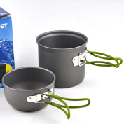 Anself Portable Outdoor Cooking Set Anodised Aluminium Non-stick Pot Bowl Cookware Camping Picnic Hiking Utensils camping cooking equipment