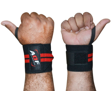 AQF Power Weight Lifting Wrist Wraps Supports Gym Training Fist Straps BLACK